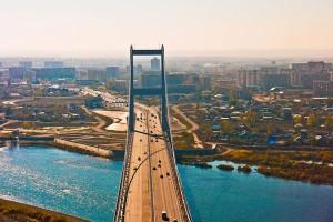 Семей, Семипалатинск, вид на город, мост